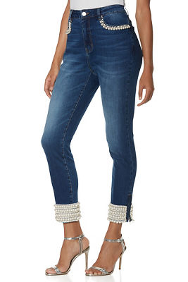 Mixed Pearl Ankle Jean