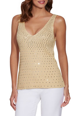 rhinestone embellished sweater tank