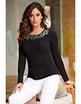 Floral Embellished-trim Sweater Photo