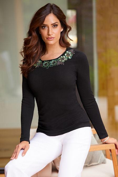 Floral Embellished-Trim Sweater image