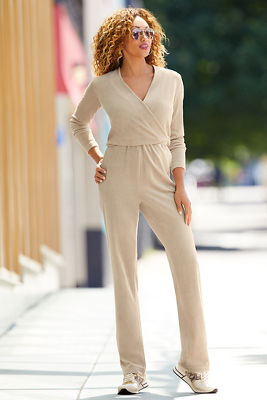 Velour Surplice Jumpsuit