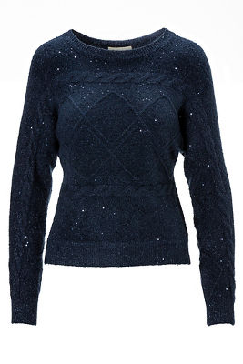 Sequin Cable Long-Sleeve Sweater