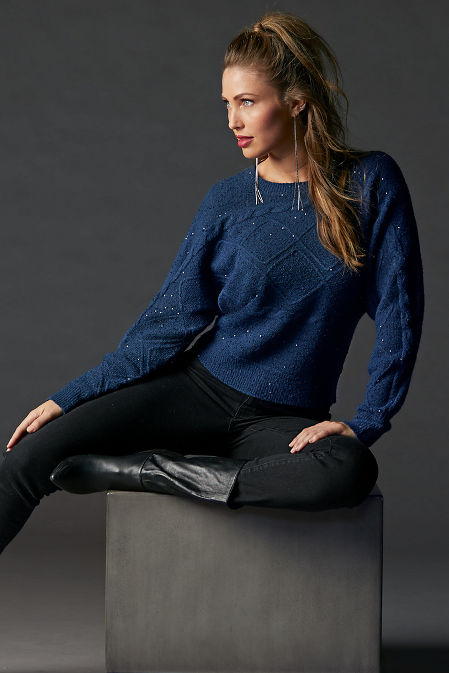 Sequin Cable Long-Sleeve Sweater image