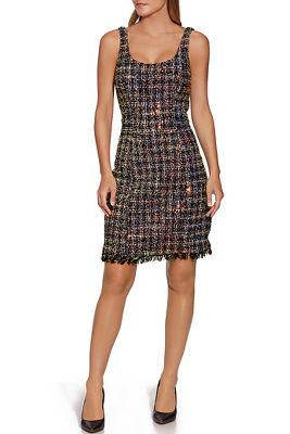 Sequin Tweed Sheath Dress