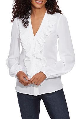 sheer ruffle blouse