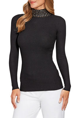 studded turtleneck ribbed sweater
