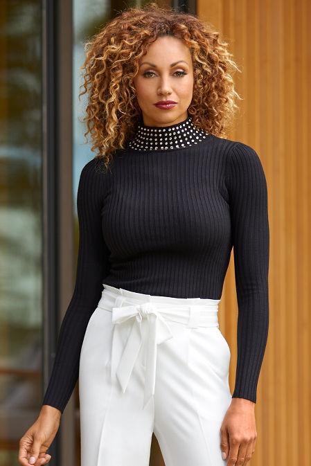 Studded Turtleneck Ribbed Sweater image