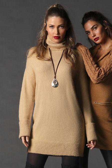 Turtleneck Long-Sleeve Sweater Dress image