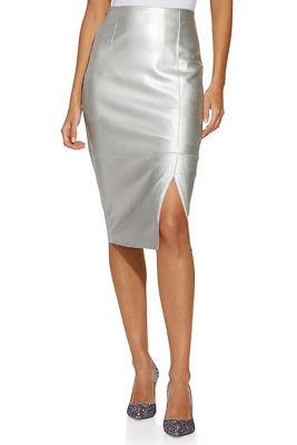 vegan leather metallic pencil skirt