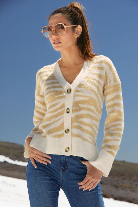 Zebra Button-Down Cardigan image