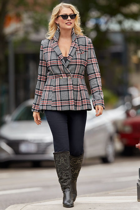 Plaid Two-Button Blazer image