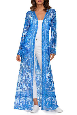 Printed jeweled duster