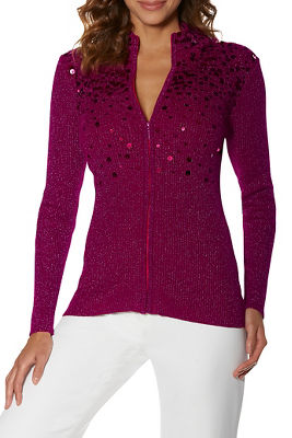 Sequin Embellished Zip Cardigan
