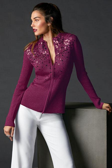 Sequin Embellished Zip Cardigan image