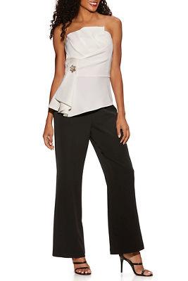 Strapless Peplum Embellished Jumpsuit