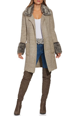 faux-fur collared sweater coat