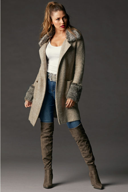 Faux-Fur Collared Sweater Coat image