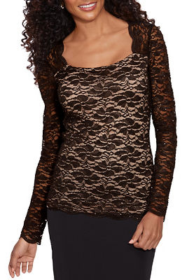 Lace Square-Neck Long-Sleeve Top