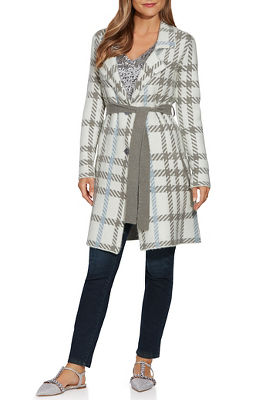 plaid button-front sweater coat