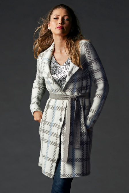 Plaid Button-Front Sweater Coat image
