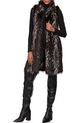 sleeveless mixed faux-fur vest