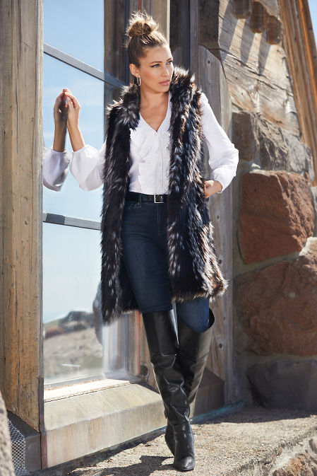 Sleeveless Mixed Faux-Fur Vest image