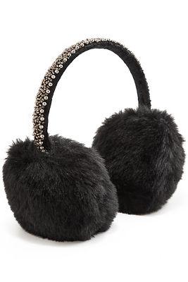 beaded faux-fur earmuffs