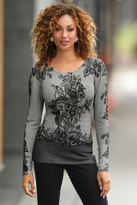 Lace Print Long-Sleeve Sweater image