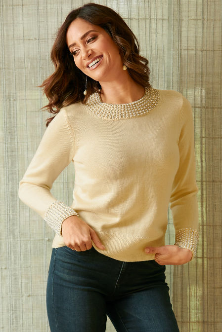 Pearl Trim Detail Sweater image