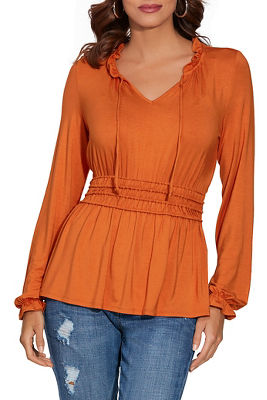 smocked waist peasant top