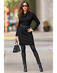 Cowl Neck Belted Sweater Dress Photo
