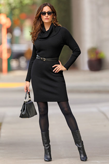 Cowl Neck Belted Sweater Dress image