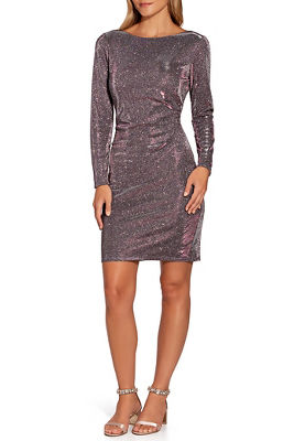 Metallic Long-Sleeve Sheath Dress