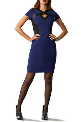 Vegan Leather Color-Block Cutout Sheath Dress