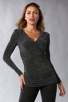 Metallic Surplice Top