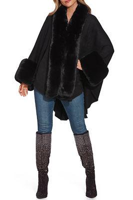 faux fur cozy poncho