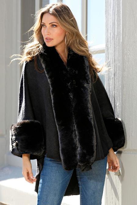 Faux Fur Cozy Poncho image