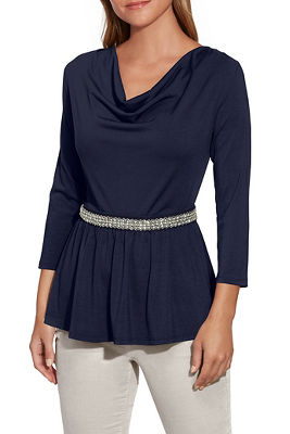 Cowl-Neck Embellished Waist Peplum Top