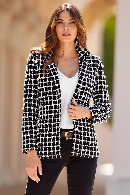 Pearl Embellished Tweed Jacket image