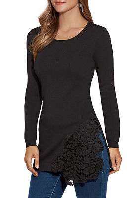 Lace Detail Long-Sleeve Tunic Sweater