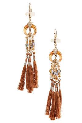 Beaded Tassel Crescent Earrings