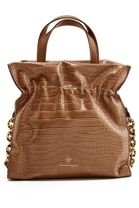 Ruched Vegan Leather Bucket Bag image