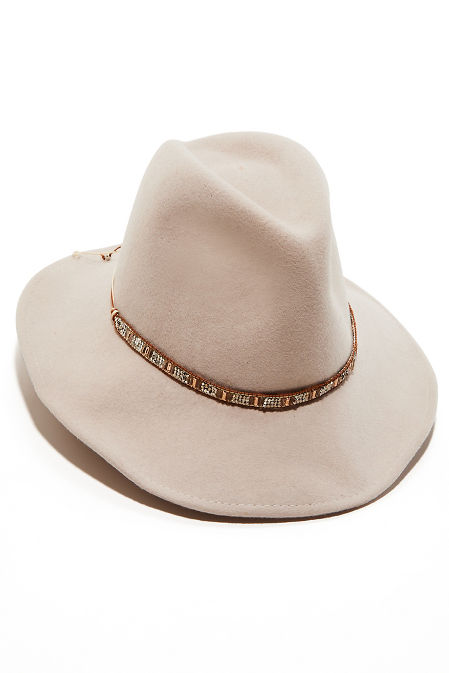 Beaded Trim Felt Hat image