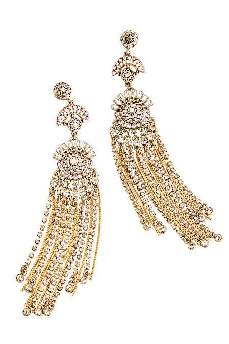 Blush Crystal Fringe Earrings image