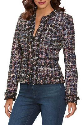 Sequin Tweed Cropped Jacket