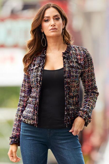 Sequin Tweed Cropped Jacket image