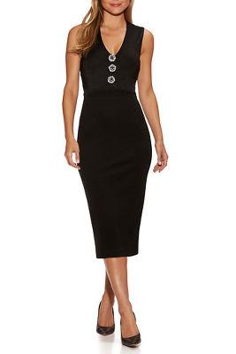 brooch v-neck dress