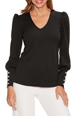 button cuff blouson-sleeve top