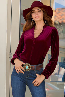 Covered Button Velvet Top