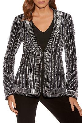 embellished stripe velvet jacket